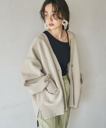 輕量 寬版針織 對襟外套