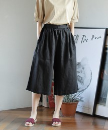 法國亞麻中長版寬褲