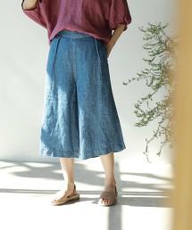 法國亞麻單寧寬褲裙