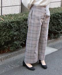 格紋前釦8分長寬褲
