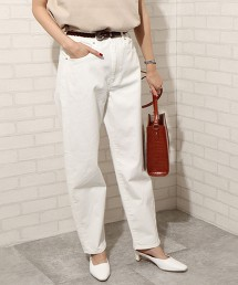 USA美國棉 繭型牛仔褲 白色寬褲