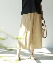 印度棉7分長細褶寬褲
