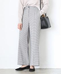 格紋中寬版寬褲