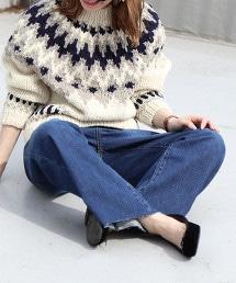 喇叭褲 牛仔褲 (磨邊丹寧 / 深藍)