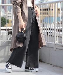 喇叭褲 牛仔褲 (磨邊丹寧 / 灰色)