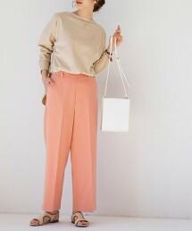 斜紋織直筒褲(中央燙線/長褲/色褲/高腰)