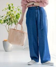 USA美國棉 附腰帶 直筒打摺牛仔褲