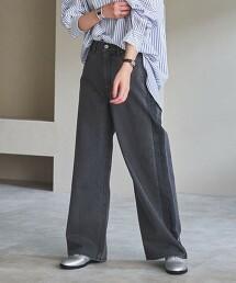 coen premium denim■側邊陰影丹寧寬褲