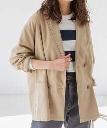 混亞麻/寬版雙排釦外套