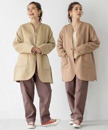 素色×格紋 兩面穿中長版無領大衣#