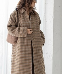 格紋巴爾瑪肯領大衣#