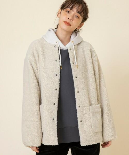雙面穿仿羊絨無領夾克