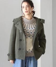混紡羊毛連帽雙排釦大衣 ( Pea Coat)