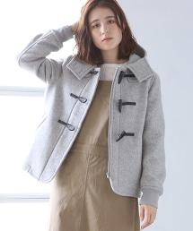 混紡羊毛連帽短版牛角釦大衣