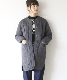 【可手洗】細條紋×Thermore 絎縫大衣