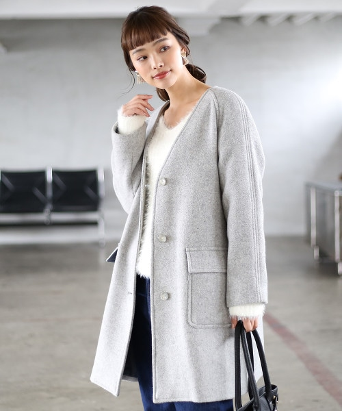 表層混紡羊毛V領長版大衣