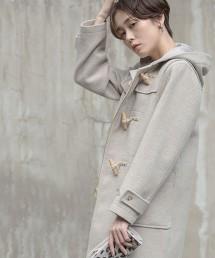 義大利環保羊毛牛角釦大衣(米色)