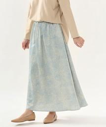 印花緞面長裙