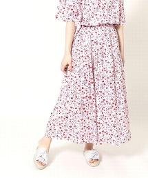 棉質色丁布小碎花荷葉長裙(花朵印花裙)