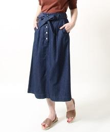 USA美國棉腰間蝴蝶結輕丹寧中長裙