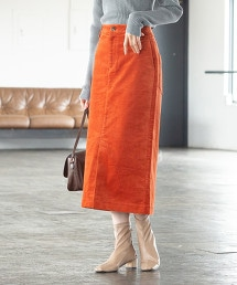 天鵝絨長版窄裙 OUTLET商品