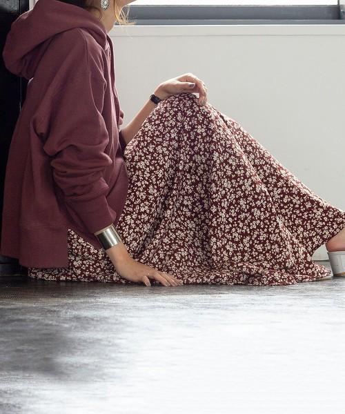 印花打摺長裙