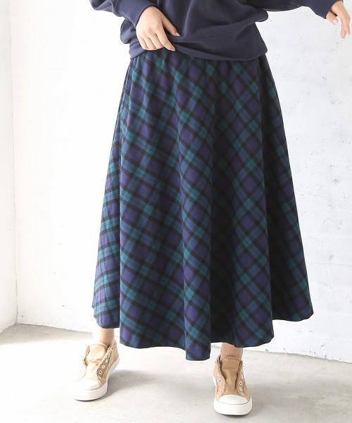 格紋荷葉長裙