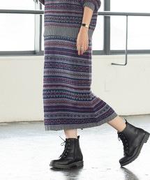 北歐圖騰緹花長版窄裙
