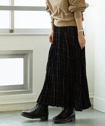 皺褶 格紋 褶裙