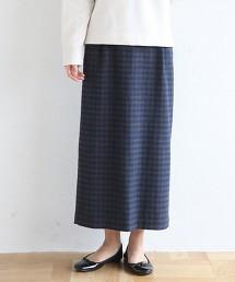 小方格格紋輕便長窄裙