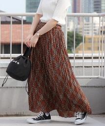 百褶格紋長裙