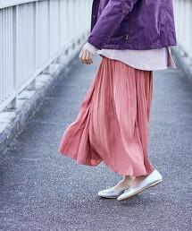 消光色丁布 褶裙(迷嬉裙/長裙)