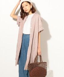 法國亞麻直條紋襯衫式洋裝
