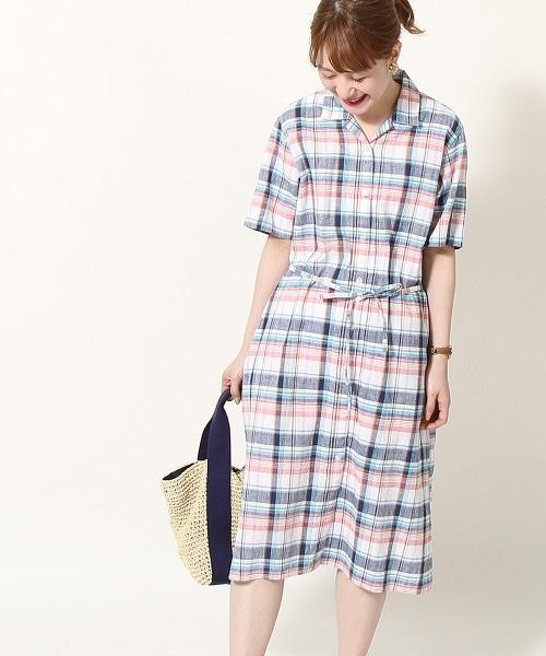 綿麻格紋襯衫式洋裝