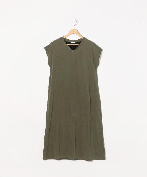 【襯墊可拆除】萊卡天竺棉附襯墊法國袖洋裝