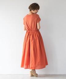 鬱金香袖腰際細褶洋裝