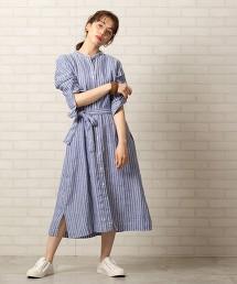 法國亞麻直條紋立領襯衫洋裝#
