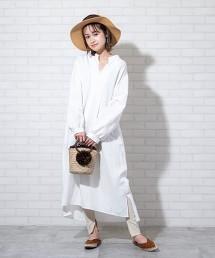 亞麻縲縈長袖連身裙