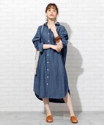 粗藍布 襯衫式洋裝(丹寧洋裝)