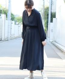 腰線接縫缺口領長版洋裝