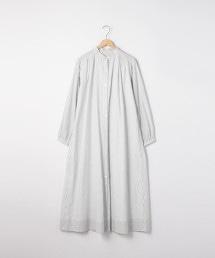 印度棉直條紋細褶洋裝