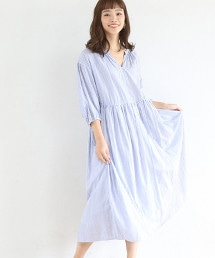 【19SS新商品・Market】腰間細褶迷嬉洋裝 (直條紋・小方格格紋)
