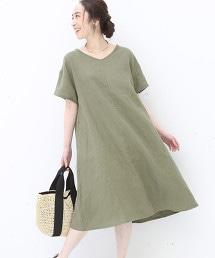法國亞麻V領荷葉連身裙
