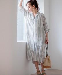 法國亞麻 襯衫式洋裝#
