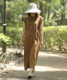 絲光加工天竺棉裹裙式洋裝