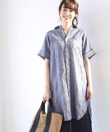 法國亞麻五分袖襯衫式連身洋裝