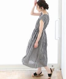 【Market】腰間抓皺迷嬉洋裝II (直條紋・小方格格紋)