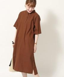 綿麻細褶洋裝