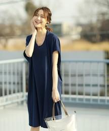 【涼感材質】梨地V領變形洋裝