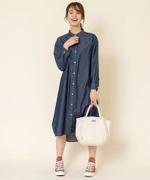 丹寧風立領襯衫式洋裝